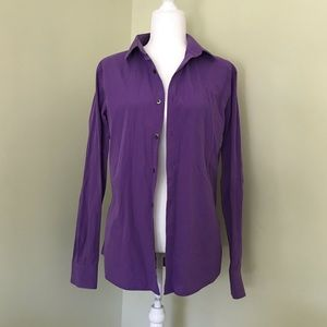 Express Men's Purple Fitted Button Down
